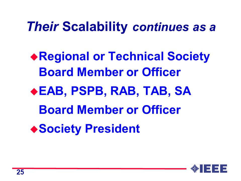 25 Their Scalability continues as a u Regional or Technical Society Board Member or Officer u EAB, PSPB, RAB, TAB, SA Board Member or Officer u Society President