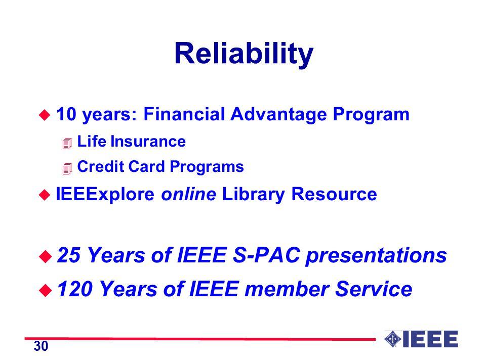 30 Reliability u 10 years: Financial Advantage Program 4 Life Insurance 4 Credit Card Programs u IEEExplore online Library Resource u 25 Years of IEEE