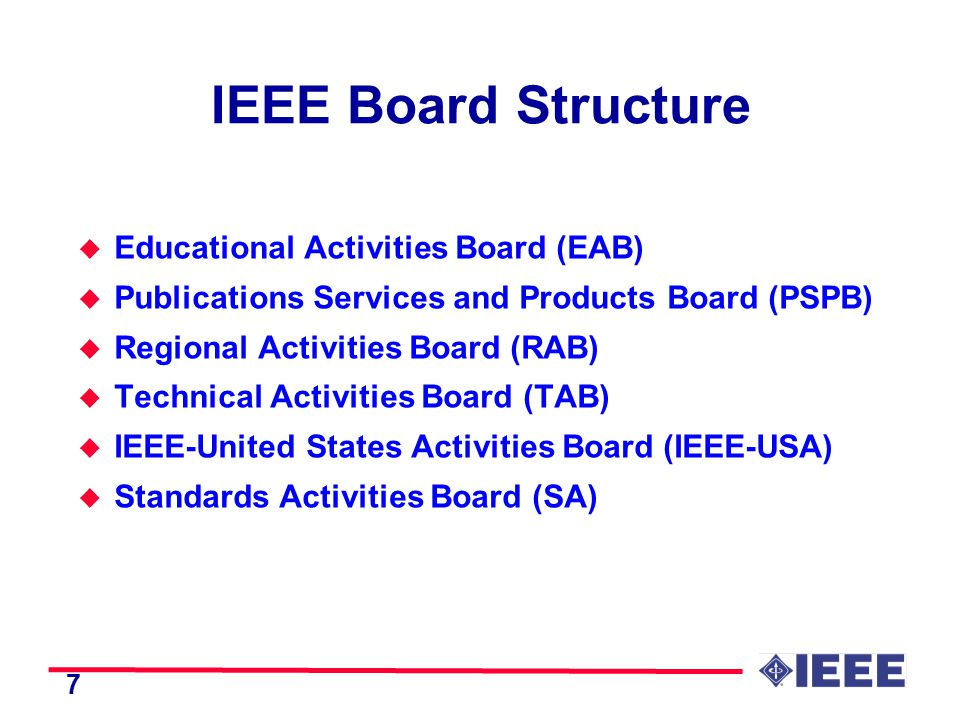 7 IEEE Board Structure u Educational Activities Board (EAB) u Publications Services and Products Board (PSPB) u Regional Activities Board (RAB) u Technical Activities Board (TAB) u IEEE-United States Activities Board (IEEE-USA) u Standards Activities Board (SA)