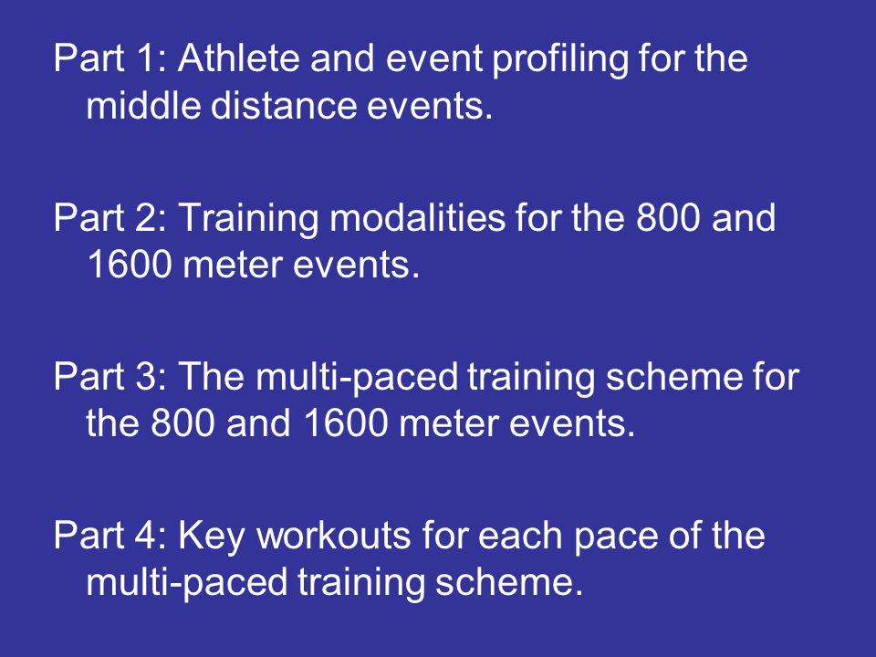 Part 1: Athlete and event profiling for the middle distance events. Part 2: Training modalities for the 800 and 1600 meter events. Part 3: The multi-p