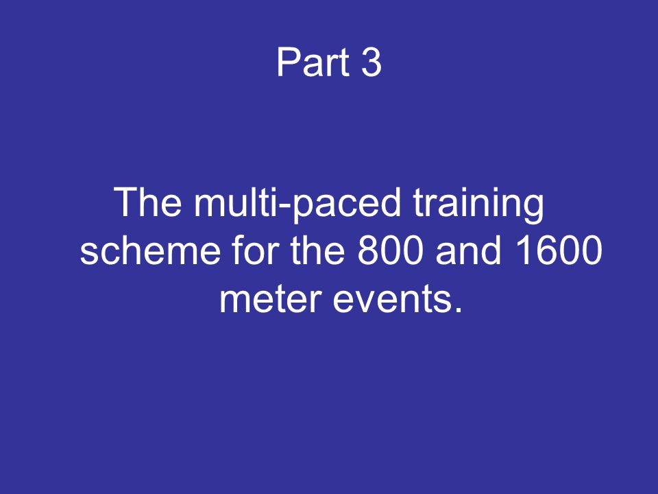 Part 3 The multi-paced training scheme for the 800 and 1600 meter events.