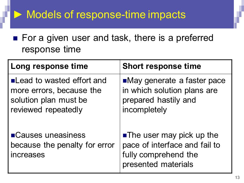 13 ► Models of response-time impacts Long response timeShort response time Lead to wasted effort and more errors, because the solution plan must be reviewed repeatedly Causes uneasiness because the penalty for error increases May generate a faster pace in which solution plans are prepared hastily and incompletely The user may pick up the pace of interface and fail to fully comprehend the presented materials For a given user and task, there is a preferred response time