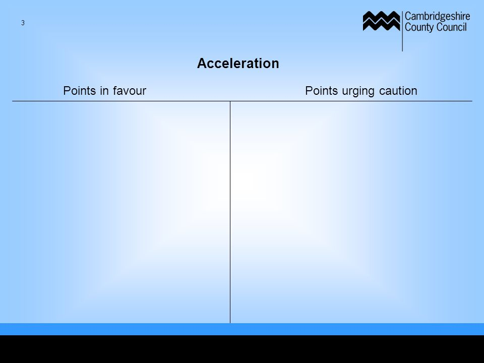 Acceleration Points in favourPoints urging caution 3