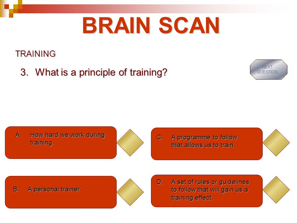 BRAIN SCAN TRAINING A.How hard we work during training.