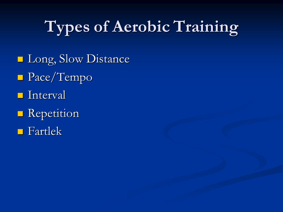 Types of Aerobic Training Long, Slow Distance Long, Slow Distance Pace/Tempo Pace/Tempo Interval Interval Repetition Repetition Fartlek Fartlek