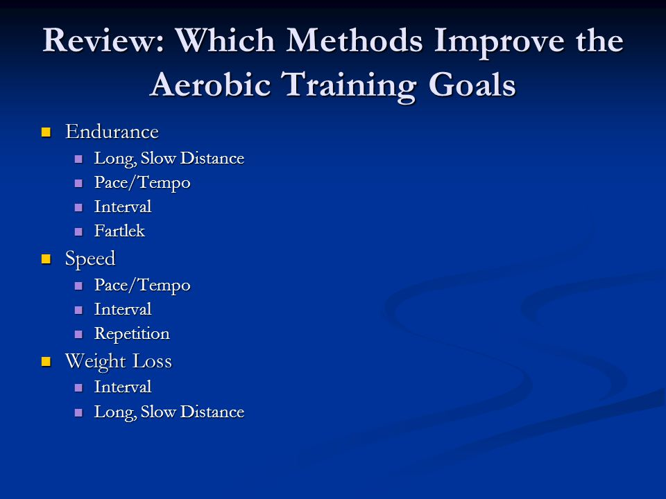Review: Which Methods Improve the Aerobic Training Goals Endurance Endurance Long, Slow Distance Long, Slow Distance Pace/Tempo Pace/Tempo Interval In