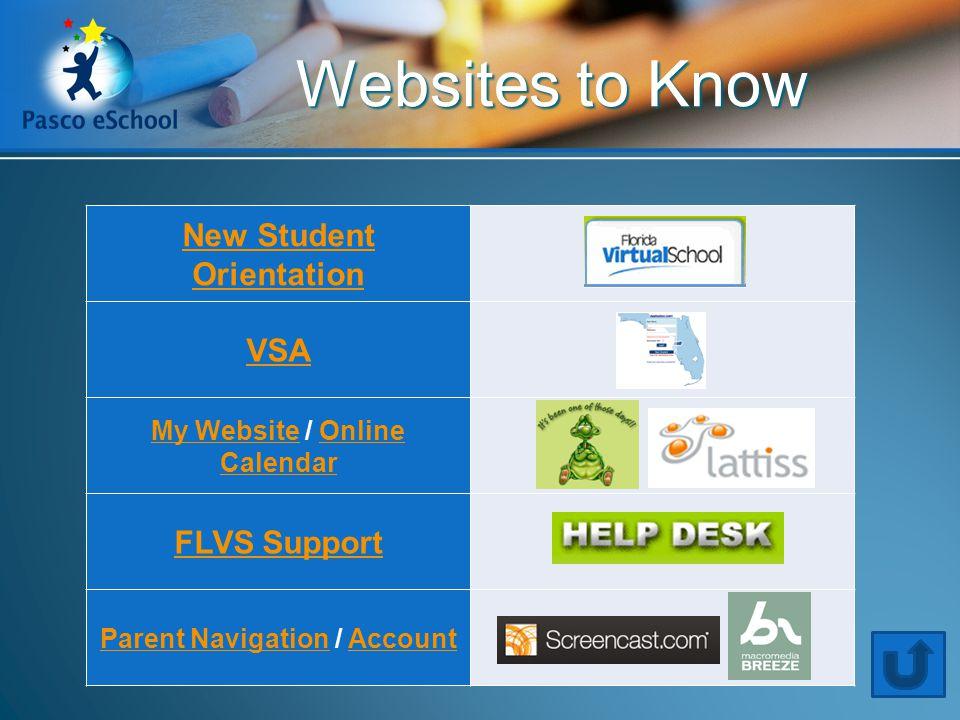 New Student Orientation VSA My WebsiteMy Website / Online CalendarOnline Calendar FLVS Support Parent NavigationParent Navigation / AccountAccount Websites to Know