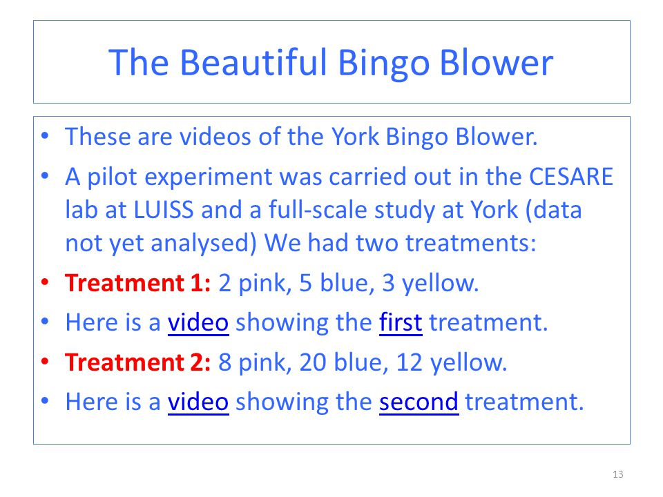 The Beautiful Bingo Blower These are videos of the York Bingo Blower.