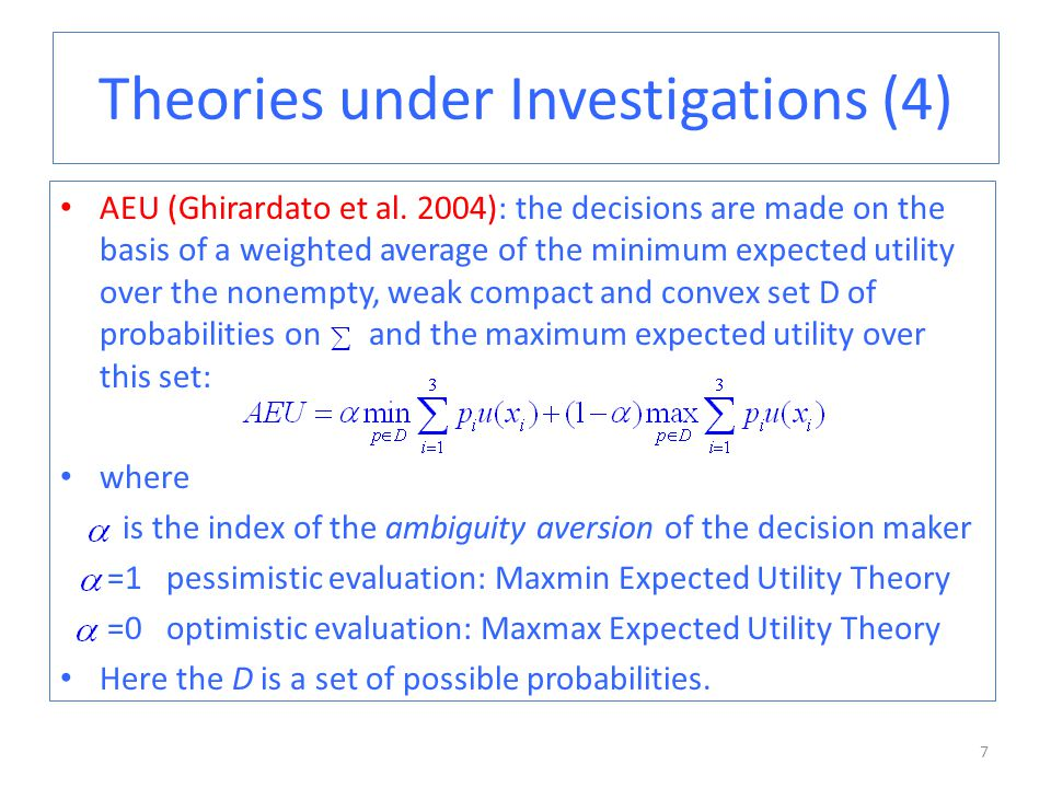Theories under Investigations (4) AEU (Ghirardato et al.