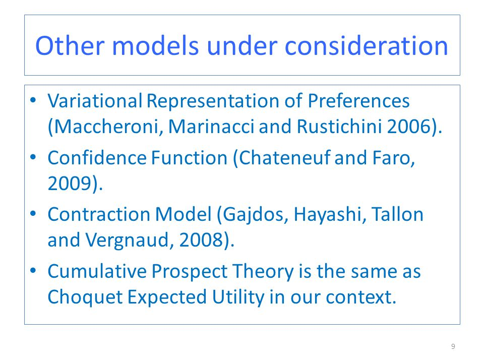 Other models under consideration Variational Representation of Preferences (Maccheroni, Marinacci and Rustichini 2006).