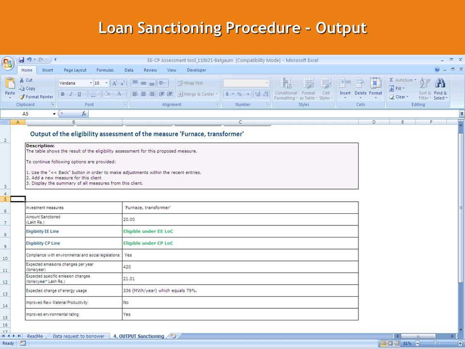 13 Loan Sanctioning Procedure - Output GO GREEN WITH SIDBI AND GIZ GO GREEN WITH SIDBI