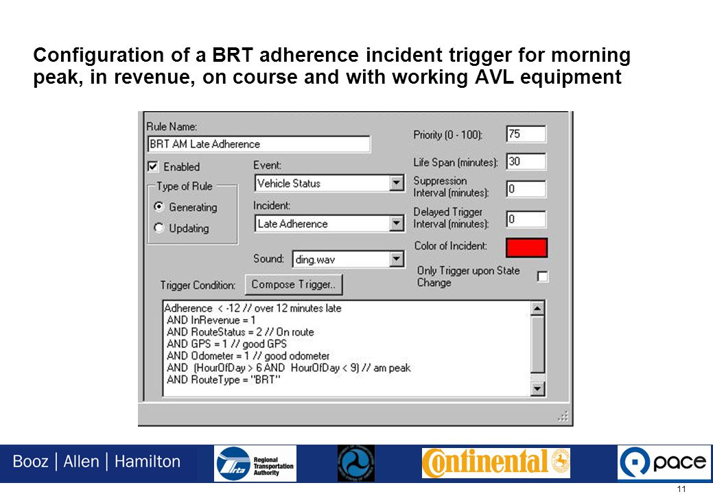 11 Configuration of a BRT adherence incident trigger for morning peak, in revenue, on course and with working AVL equipment