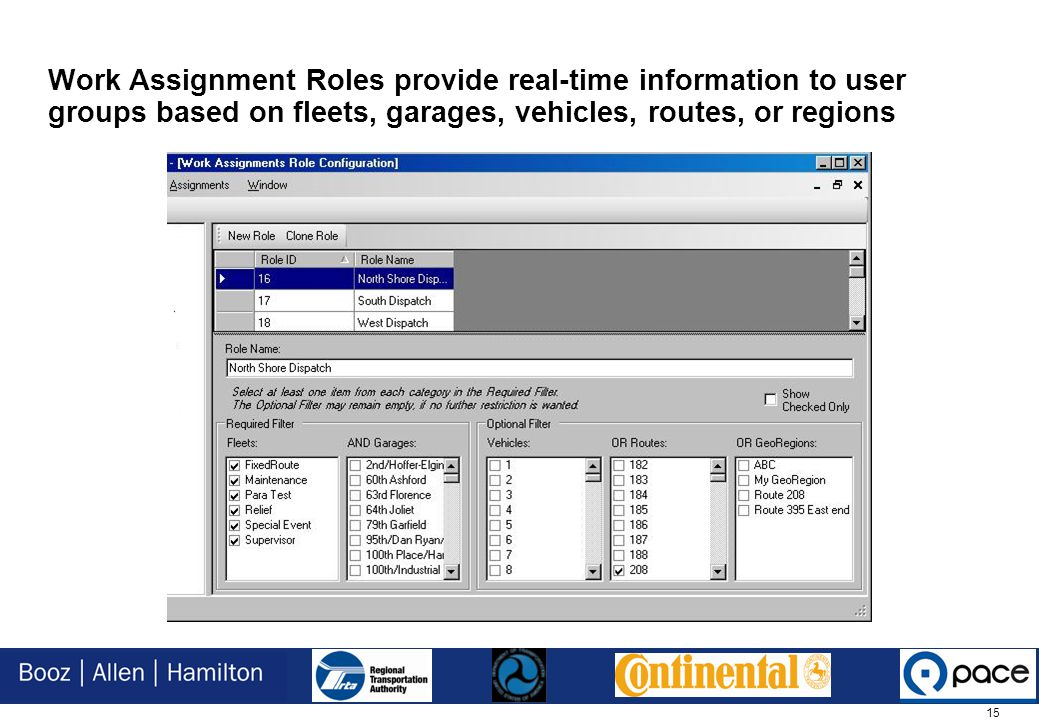 15 Work Assignment Roles provide real-time information to user groups based on fleets, garages, vehicles, routes, or regions