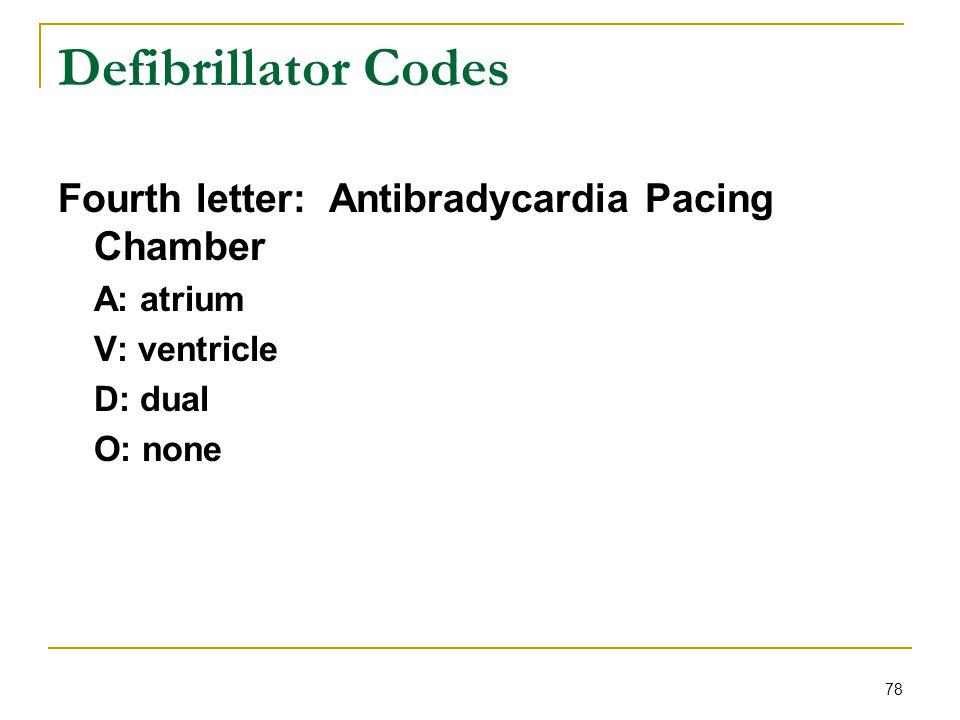 78 Defibrillator Codes Fourth letter: Antibradycardia Pacing Chamber A: atrium V: ventricle D: dual O: none