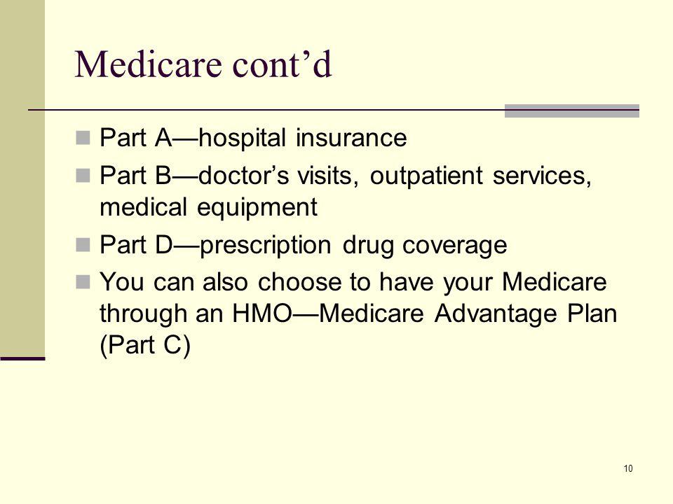 10 Medicare cont'd Part A—hospital insurance Part B—doctor's visits, outpatient services, medical equipment Part D—prescription drug coverage You can also choose to have your Medicare through an HMO—Medicare Advantage Plan (Part C)