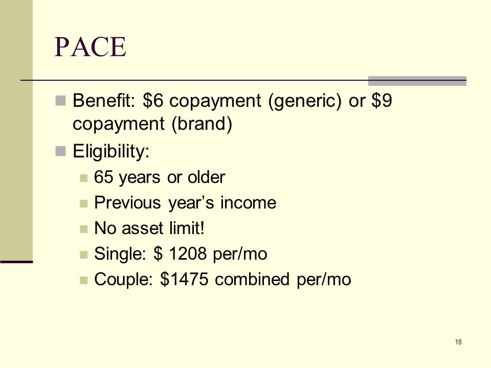 18 PACE Benefit: $6 copayment (generic) or $9 copayment (brand) Eligibility: 65 years or older Previous year's income No asset limit.