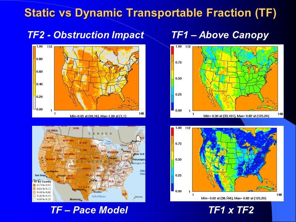 Static vs Dynamic Transportable Fraction (TF) TF2 - Obstruction ImpactTF1 – Above Canopy TF – Pace ModelTF1 x TF2