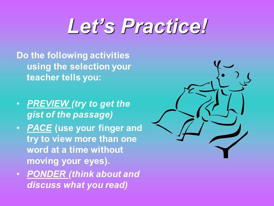 Let's Practice.