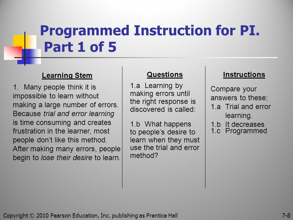 Programmed Instruction for PI. Part 1 of 5 Learning Stem 1.Many people think it is impossible to learn without making a large number of errors. Becaus