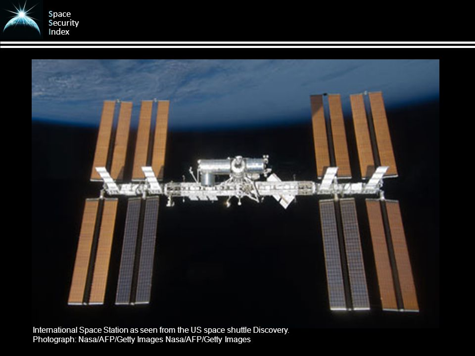 Space Security Index International Space Station as seen from the US space shuttle Discovery.