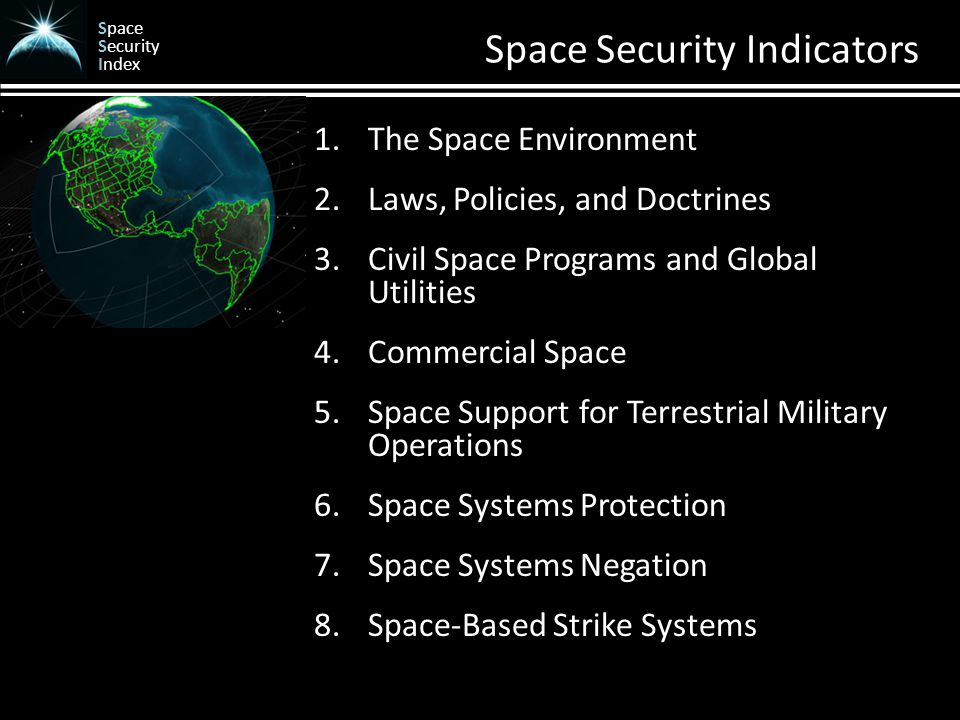 Space Security Index Space Security Indicators 1.The Space Environment 2.Laws, Policies, and Doctrines 3.Civil Space Programs and Global Utilities 4.Commercial Space 5.Space Support for Terrestrial Military Operations 6.Space Systems Protection 7.Space Systems Negation 8.Space-Based Strike Systems