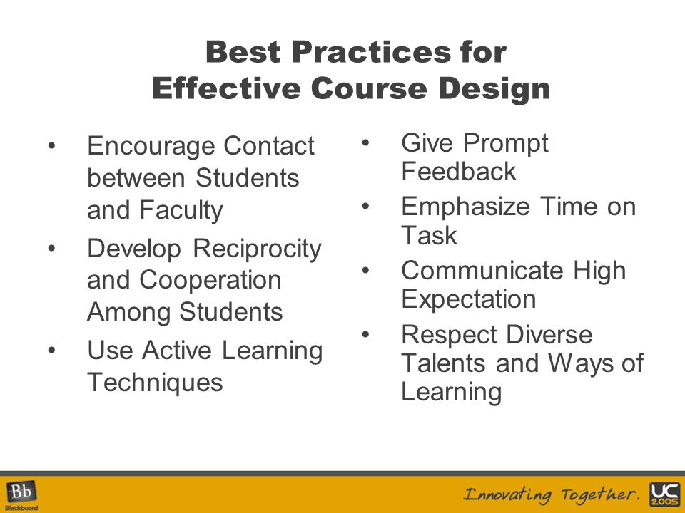 Best Practices for Effective Course Design Encourage Contact between Students and Faculty Develop Reciprocity and Cooperation Among Students Use Activ