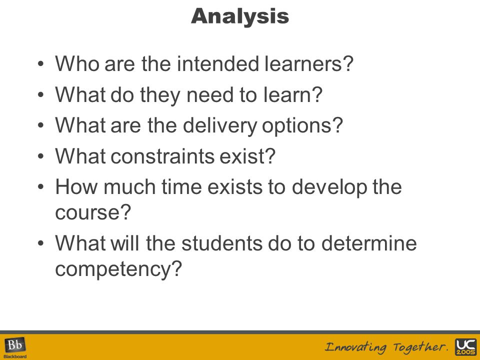 Analysis Who are the intended learners. What do they need to learn.