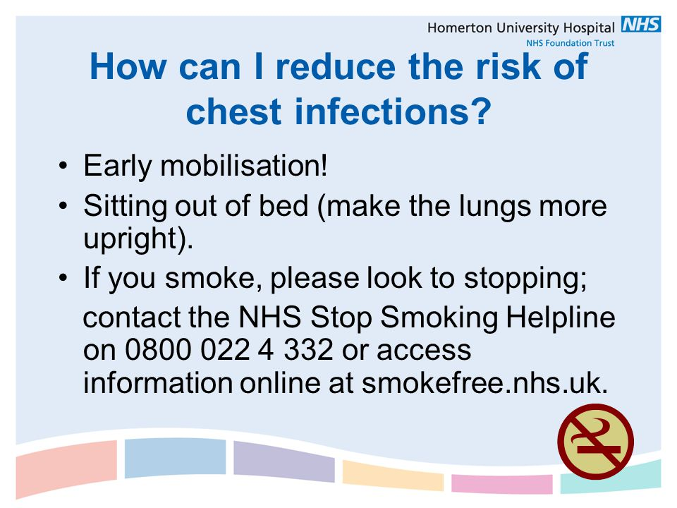 How can I reduce the risk of chest infections? Early mobilisation! Sitting out of bed (make the lungs more upright). If you smoke, please look to stop
