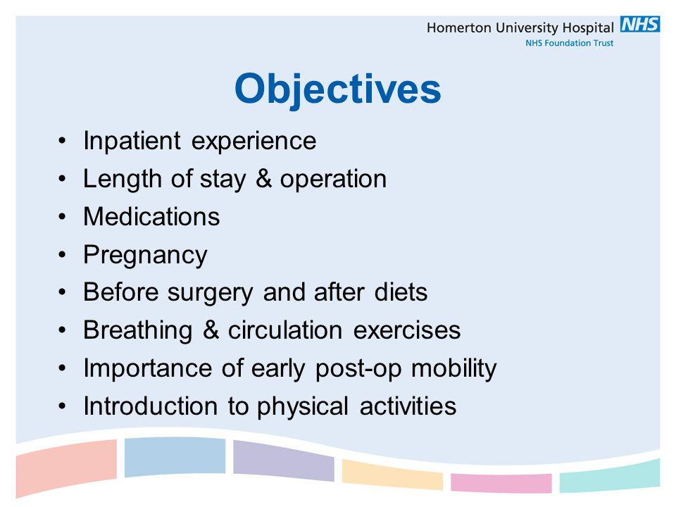 Objectives Inpatient experience Length of stay & operation Medications Pregnancy Before surgery and after diets Breathing & circulation exercises Impo