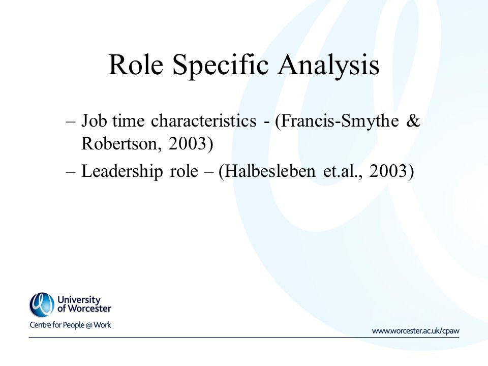 Role Specific Analysis –Job time characteristics - (Francis-Smythe & Robertson, 2003) –Leadership role – (Halbesleben et.al., 2003)