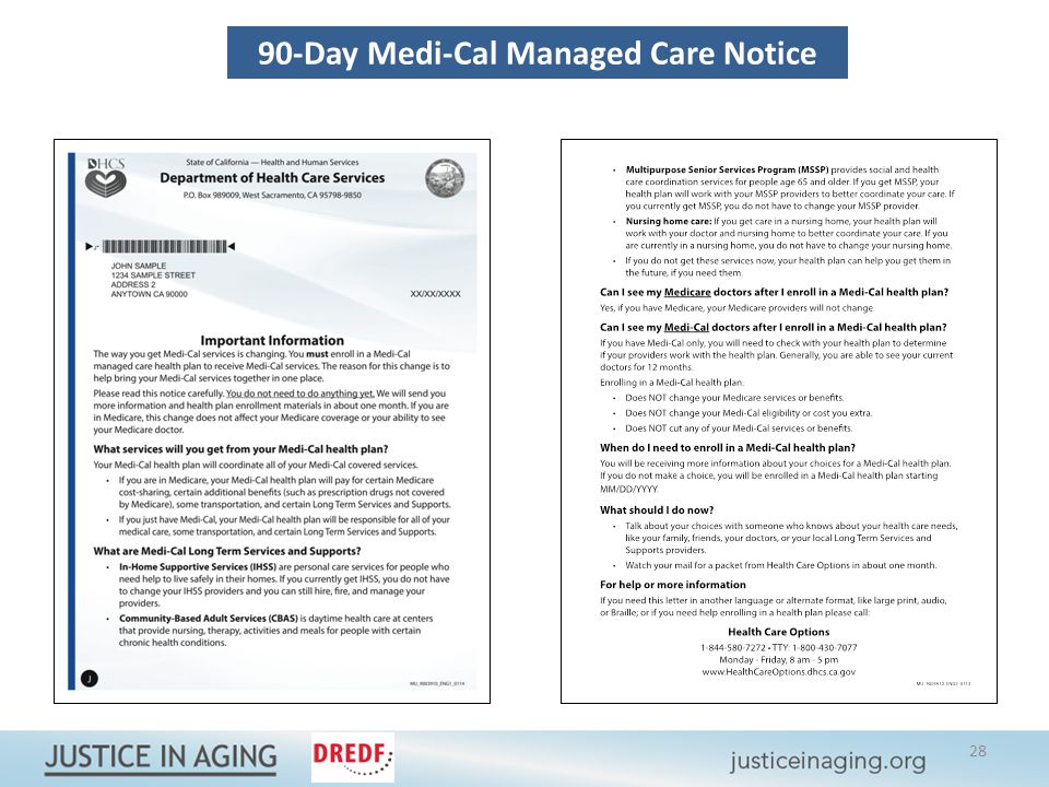 90-Day Medi-Cal Managed Care Notice 28