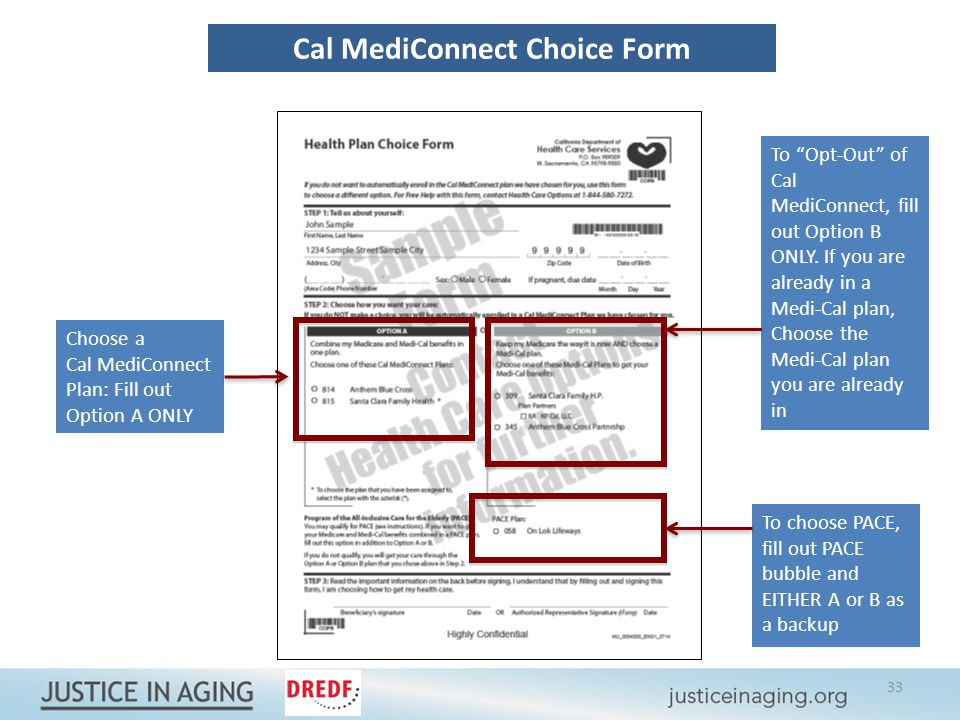 Cal MediConnect Choice Form Choose a Cal MediConnect Plan: Fill out Option A ONLY To Opt-Out of Cal MediConnect, fill out Option B ONLY.