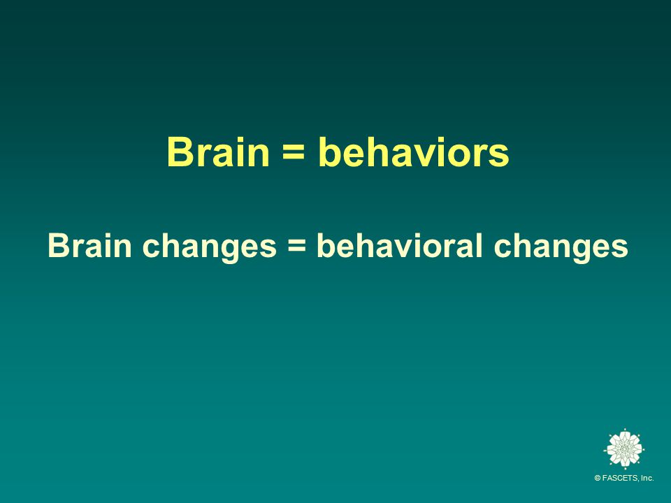 © FASCETS, Inc. Brain = behaviors Brain changes = behavioral changes