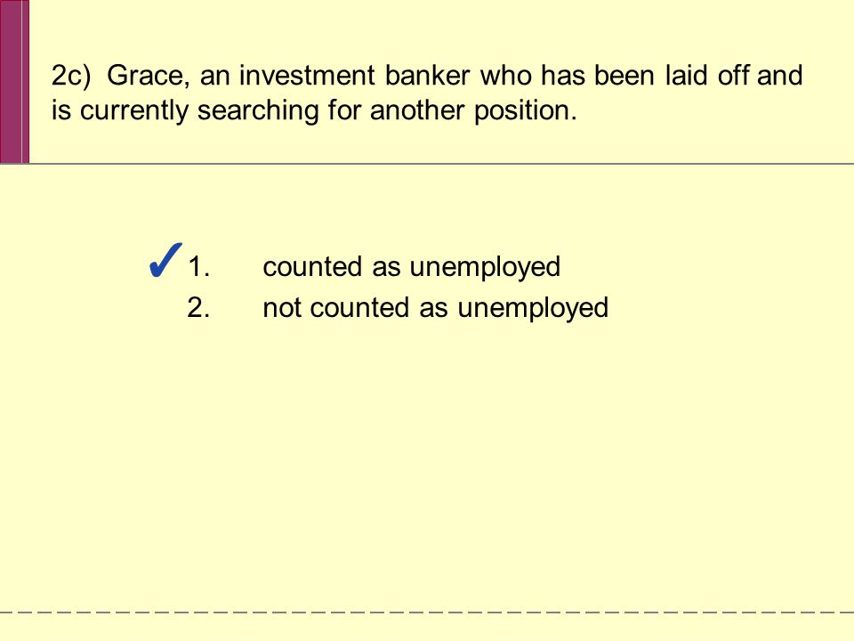 2c) Grace, an investment banker who has been laid off and is currently searching for another position.