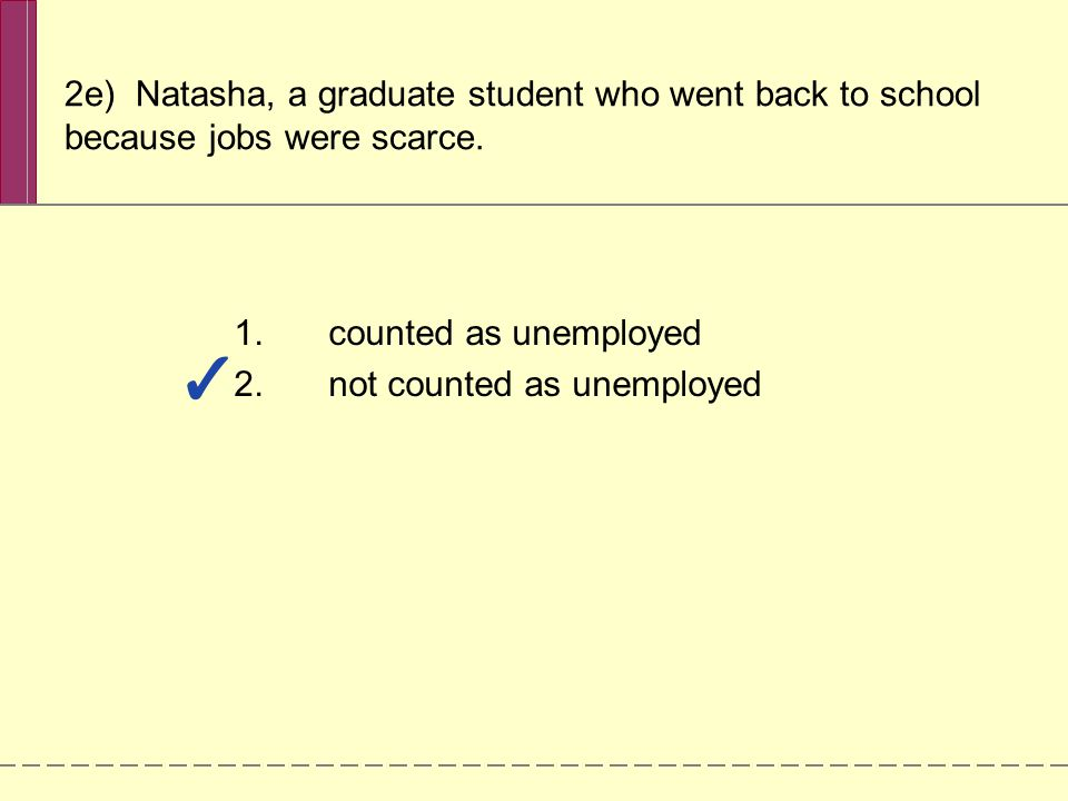 2e) Natasha, a graduate student who went back to school because jobs were scarce.