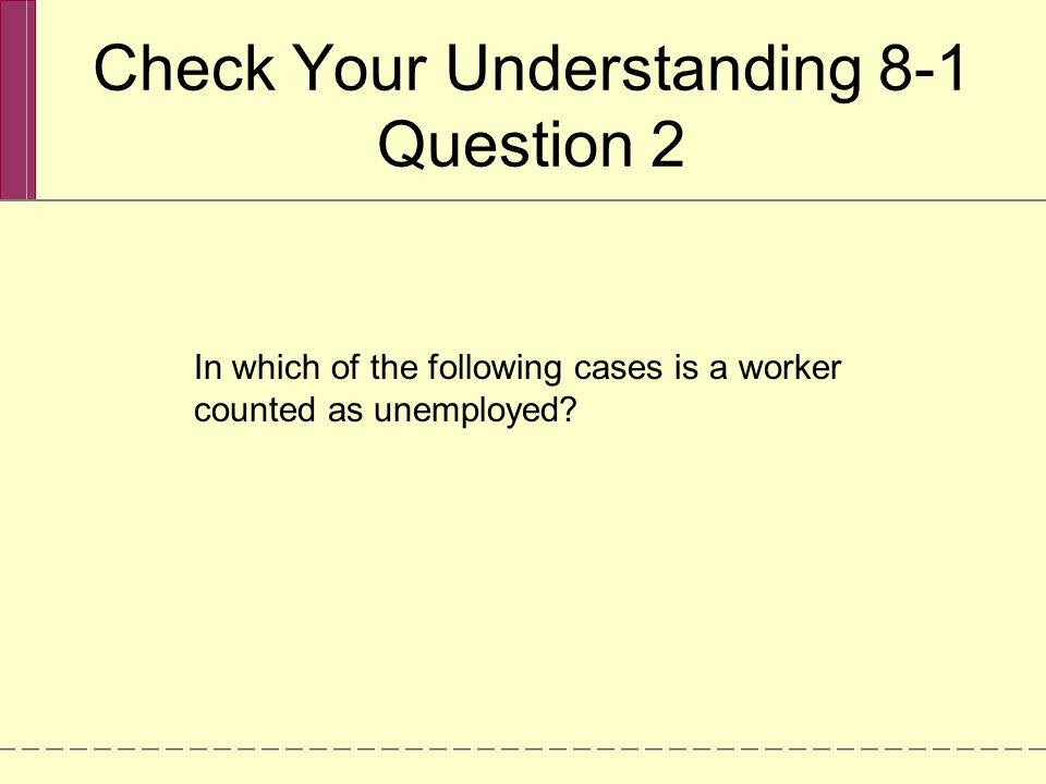 Check Your Understanding 8-1 Question 2 In which of the following cases is a worker counted as unemployed