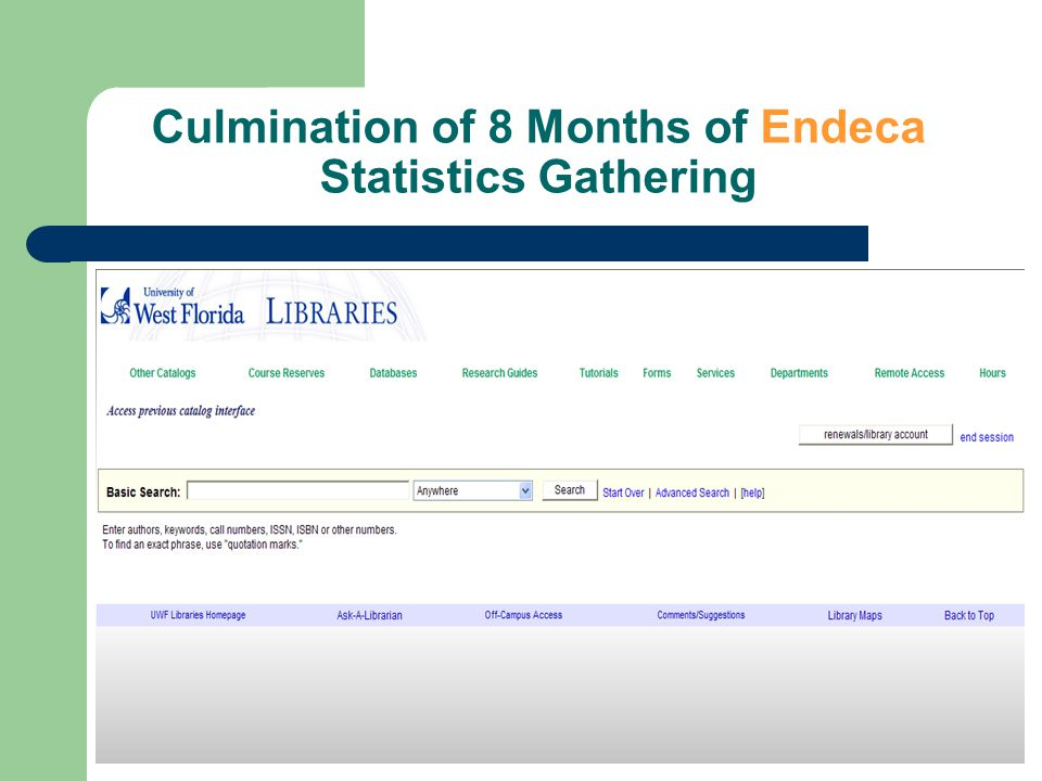 Endeca Statistics – October Top Records Journal title Subject Heading Journal Title Video Recording Business database Book Keyword Subject Heading