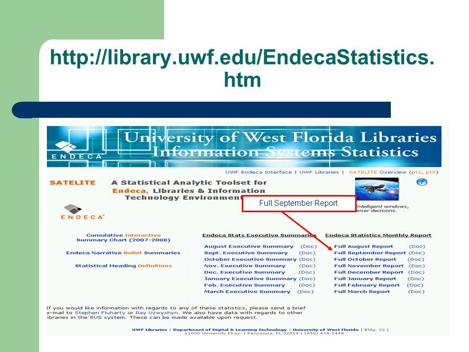 http://library.uwf.edu/EndecaStatistics Summary.htm Sorting Summary.