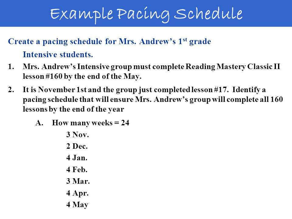 Create a pacing schedule for Mrs. Andrew's 1 st grade Intensive students.