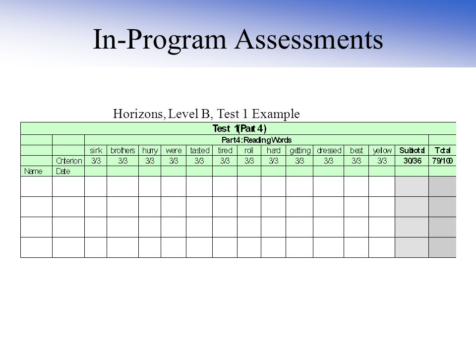 In-Program Assessments Horizons, Level B, Test 1 Example