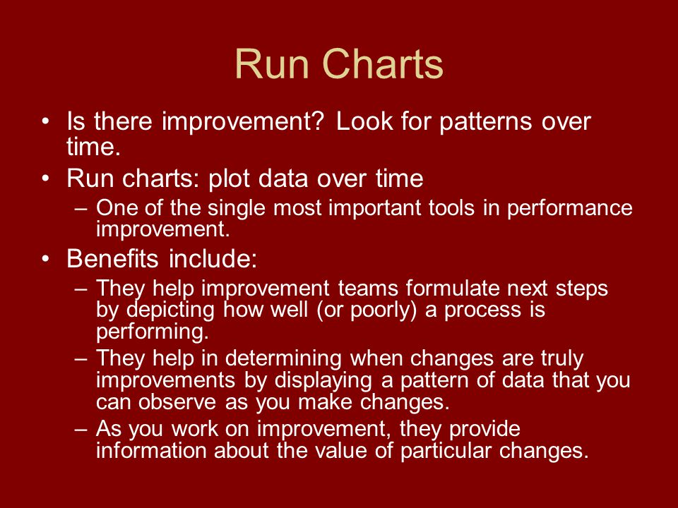 Run Charts Is there improvement. Look for patterns over time.