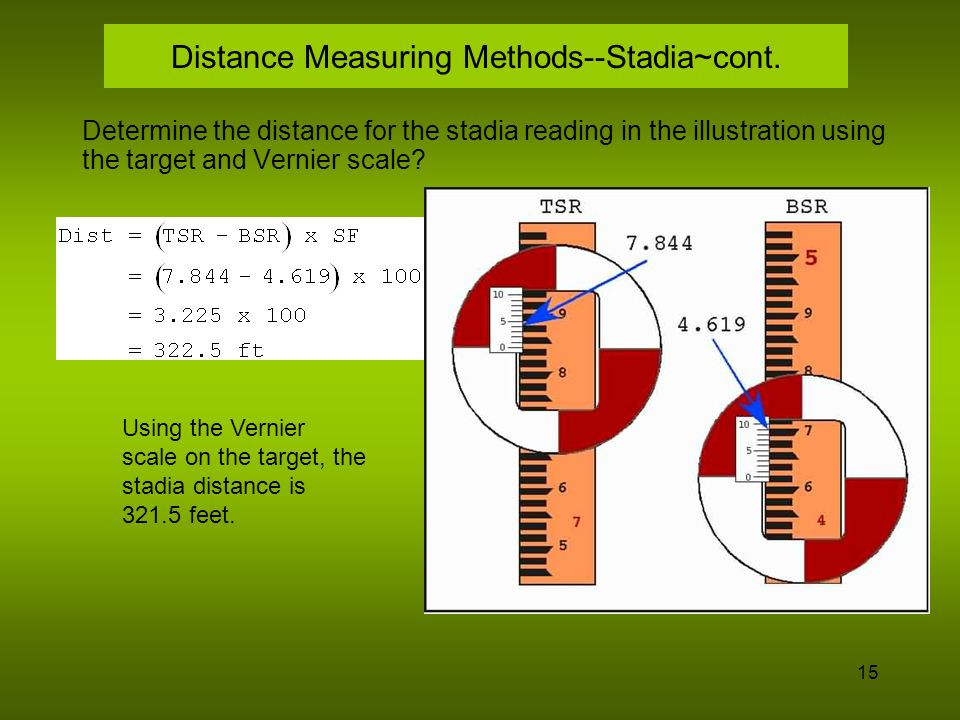 16 Horizontal Distance--1/2 Stadia When the top or bottom stadia hair rod reading is obscured, a process called 1/2 stadia can be used.