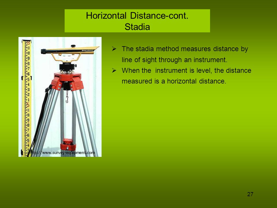28 Electronic Distance Measuring (EDM) The signal from an EDM travels in a straight line.