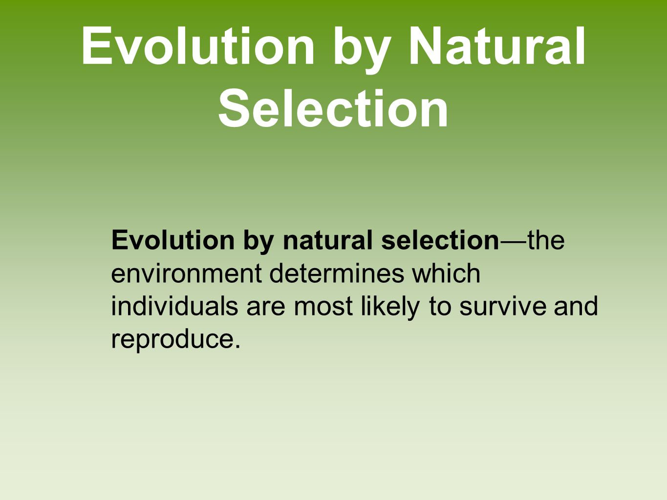 Darwin's theory of evolution by natural selection Individuals produce an excess of offspring Not all offspring can survive Individuals differ in their traits Differences in traits can be passed on from parents to offspring Differences in traits are associated with differences in the ability to survive and reproduce