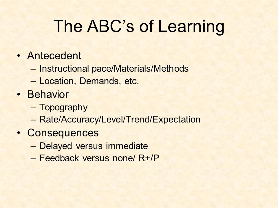 The ABC's of Learning Antecedent –Instructional pace/Materials/Methods –Location, Demands, etc.