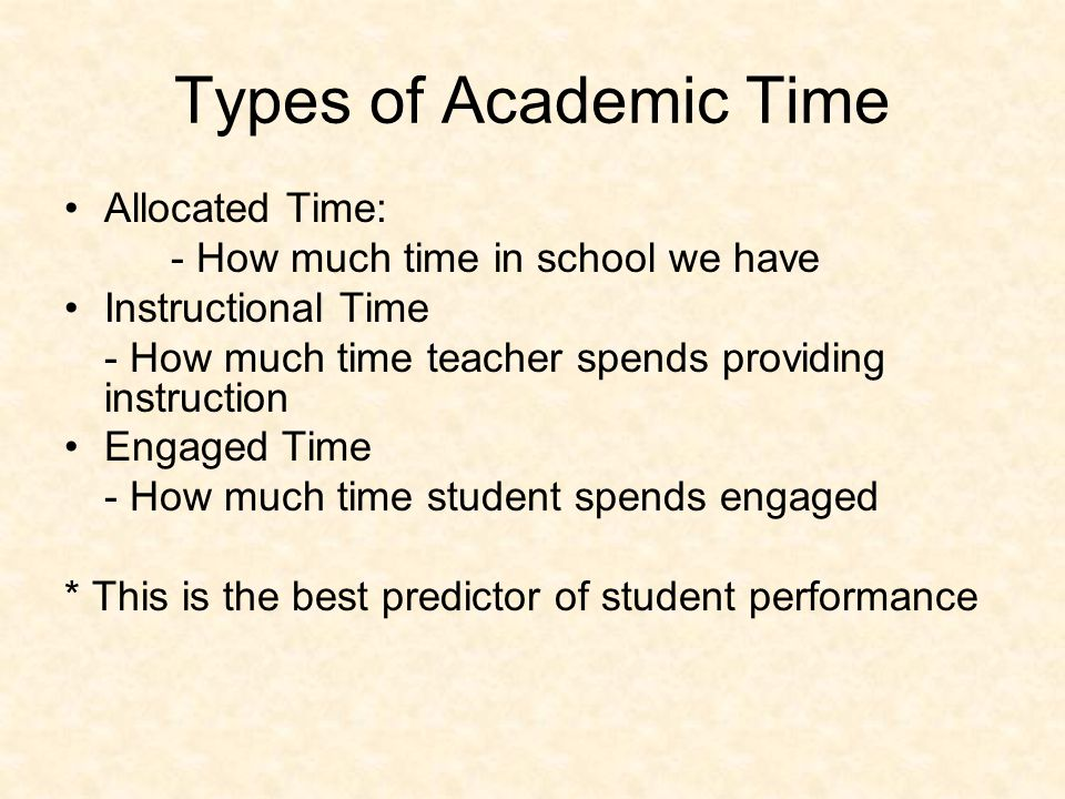 Types of Academic Time Allocated Time: - How much time in school we have Instructional Time - How much time teacher spends providing instruction Engaged Time - How much time student spends engaged * This is the best predictor of student performance
