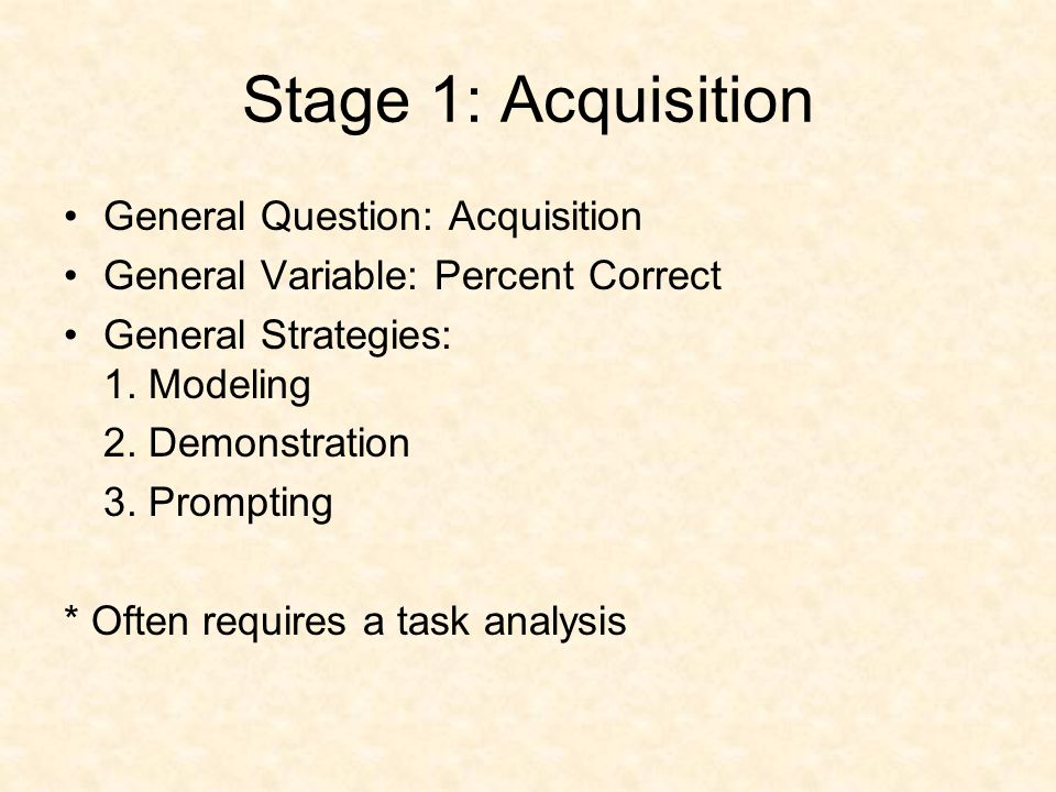 Stage 1: Acquisition General Question: Acquisition General Variable: Percent Correct General Strategies: 1.