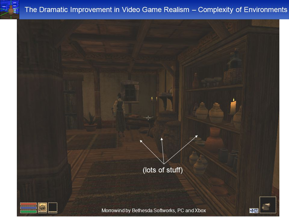 The Dramatic Improvement in Video Game Realism – Complexity of Environments (lots of stuff) Morrowind by Bethesda Softworks, PC and Xbox