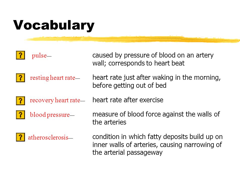 Vocabulary caused by pressure of blood on an artery wall; corresponds to heart beat heart rate just after waking in the morning, before getting out of bed heart rate after exercise measure of blood force against the walls of the arteries condition in which fatty deposits build up on inner walls of arteries, causing narrowing of the arterial passageway pulse — resting heart rate — recovery heart rate — blood pressure — atherosclerosis —