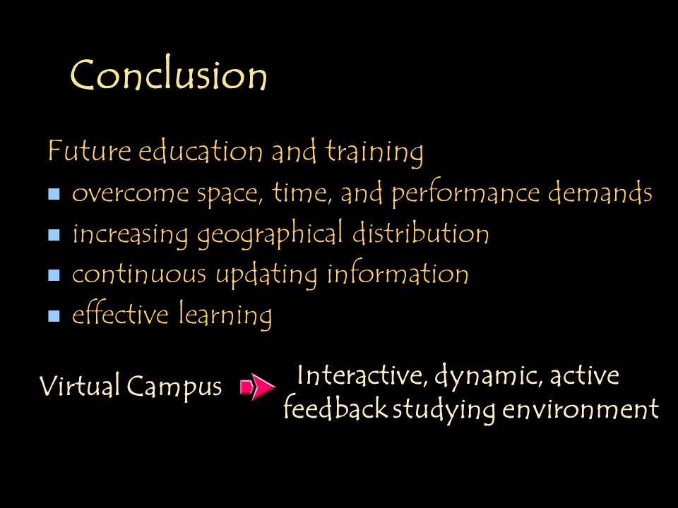 Conclusion Future education and training n overcome space, time, and performance demands n increasing geographical distribution n continuous updating information n effective learning Interactive, dynamic, active feedback studying environment Virtual Campus